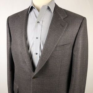 Canali Men's Silk Wool Sport Coat 44L Brown Gray
